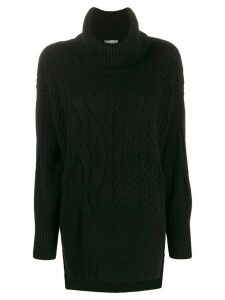 N.Peal longline roll neck knit jumper - Black