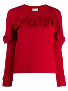 Red Valentino ruffled detail sweatshirt