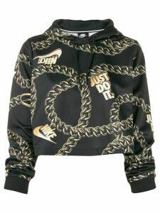 Nike chain-link printed cropped hoodie - Black