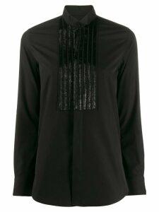Saint Laurent beaded pintuck shirt - Black