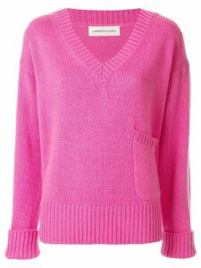 Lamberto Losani v-neck patch pocket jumper - PINK