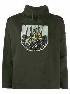 Kenzo logo embroidered boxy hoodie - Green