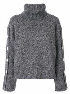 Moon J button-detail roll neck jumper - Grey