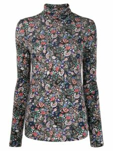 Isabel Marant floral print turtleneck jumper - Black