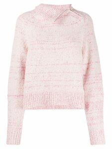 Isabel Marant asymmetric collar marled knit jumper - PINK