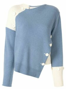 Moon J contrast asymmetric sweater - Blue