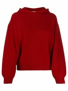 Pringle of Scotland cropped volume sleeve hoodie - Red