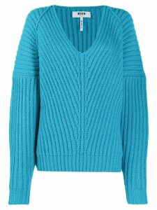 MSGM v-neck knitted jumper - Blue