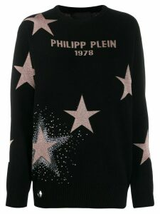 Philipp Plein metallic star relaxed-fit jumper - Black