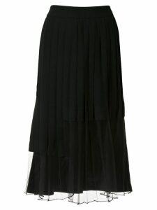 J Koo pleated midi skirt - Black