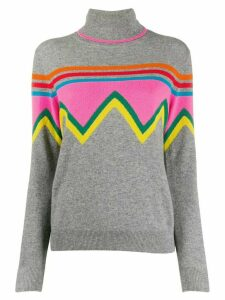 Chinti & Parker colour-block turtle neck top - Grey
