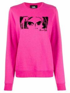 Karl Lagerfeld Karl x Carine flocked sweatshirt - PINK