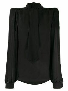 Saint Laurent semi-sheer pussy-bow blouse - Black