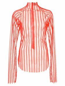 Paula Knorr striped velvet top - Red