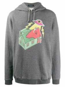 JohnUNDERCOVER long sleeve printed invasion hoodie - Grey