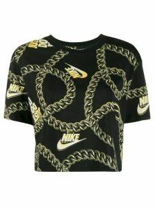 Nike chain-link motif cropped T-shirt - Black