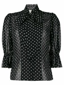 Alexis short puffed sleeve polka dot blouse - Black