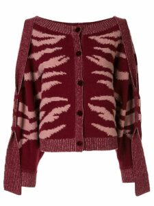 Onefifteen animal print cardigan - Red