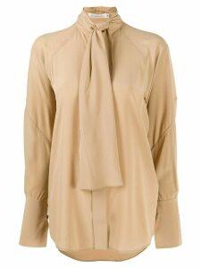 Victoria Beckham silk tie detail oversized blouse - NEUTRALS