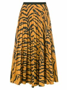 Adam Lippes tiger print pleated skirt - ORANGE