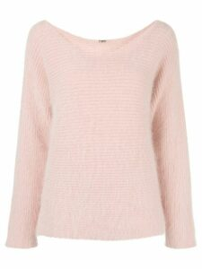 Adam Lippes fluffy scoop neck jumper - PINK