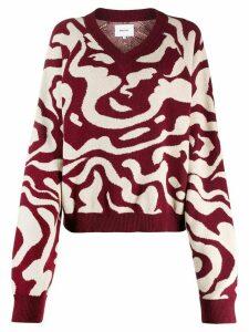 Nanushka v-neck intarsia jumper - Red