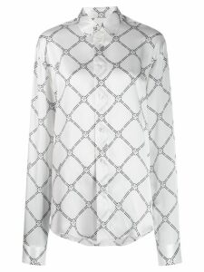 GmbH Geometric Digital-print silk shirt - White