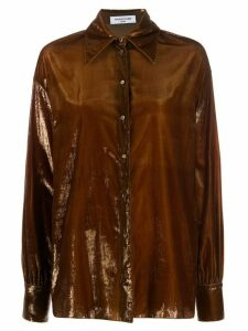 Françoise oversized velvet shirt - Brown