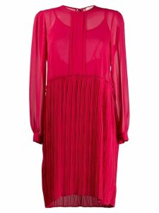 Semicouture sheer pleated-skirt dress - PINK