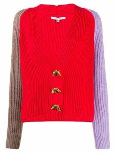 Olivia Rubin colour-block ribbed cardigan - Red