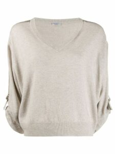 Brunello Cucinelli cropped boxy sweater - NEUTRALS