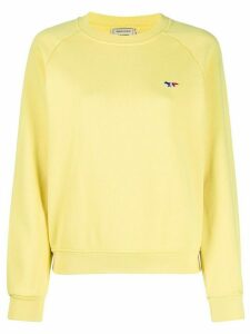 Maison Kitsuné crew neck ribbed knit sweater - Yellow
