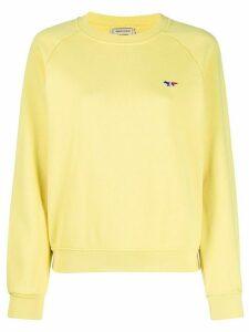 Maison Kitsuné crew neck ribbed knit sweater - Yellow