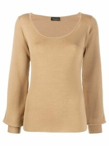 Roberto Collina deep neck jumper - NEUTRALS