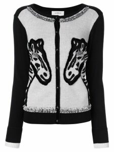 Onefifteen embroidered zebra motif cardigan - Black