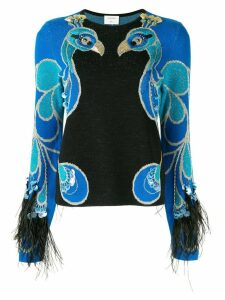 Onefifteen embroidered bird motif jumper - Blue