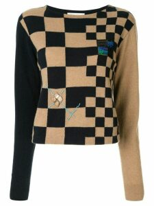 Onefifteen embroidered checkered jumper - Black