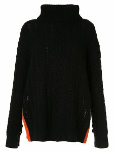 Onefifteen cable-knit roll neck jumper - Black