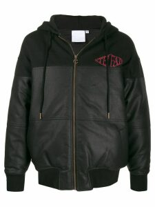 Telfar leather look panelled zip hoodie - Black
