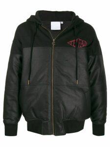 Telfar leather look panelled zip hoodie - Black