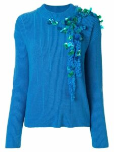 Onefifteen embroidered ribbed knit jumper - Blue
