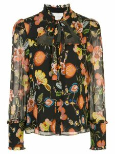 Alexis floral print cut-out blouse - Black