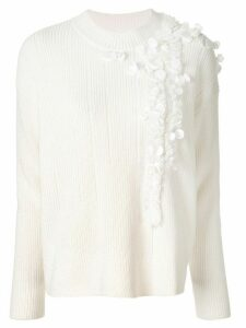 Onefifteen embroidered ribbed jumper - White