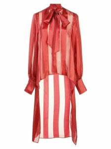 Alexis striped high-low shirt - Red