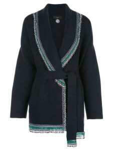 Alanui embroidered belted cardigan - NOCTURNEBLUE