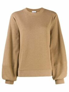 GANNI balloon sleeve sweatshirt - Brown