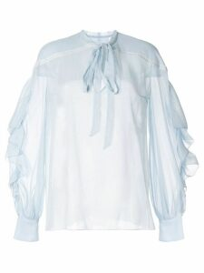 Ingie Paris pussy-bow sheer blouse - Blue