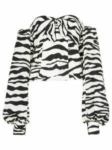 The Attico zebra print pouf-sleeve blouse - White