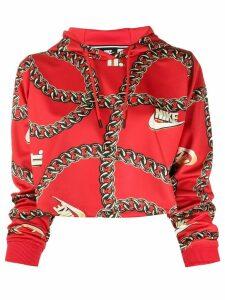 Nike logo motif cropped hoodie - Red