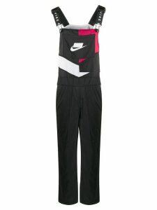 Nike contrast logo dungarees - Black